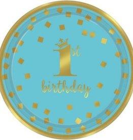 "1st Birthday Boy Metallic Round Plates 9"" (8)"