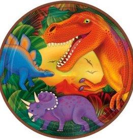 "Prehistoric Dinosaurs Metallic Round Plates 9"" (8)"