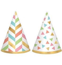 Confetti Fun Mini Foil Cone Hats (12)