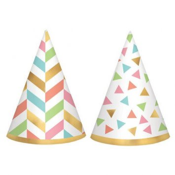 Confetti Fun Mini Foil Cone Hats (12)