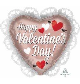 """Mylar Happy Valentines Day Rose Gold 23"""""""