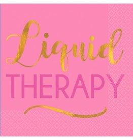 """Liquid Therapy"" Beverage Napkins  Foil Hot-Stamped (16)"