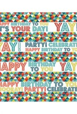 Birthday Triangles Printed Jumbo Gift Wrap