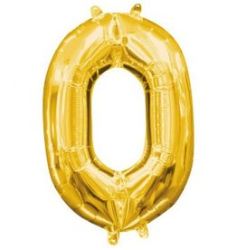 "Air-Filled Number ""0""- Gold 16"" Balloon"