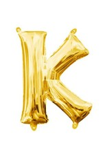 """Air-Filled Letter """"K""""- Gold 16"""" Balloon"""