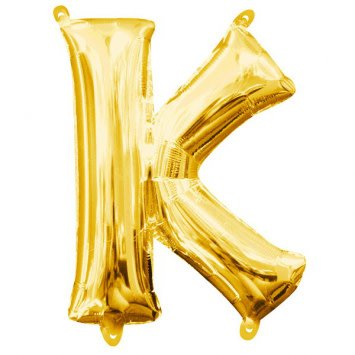 "Air-Filled Letter ""K""- Gold 16"" Balloon"
