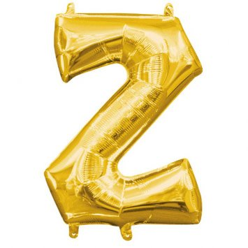 """Air-Filled Letter """"Z""""- Gold 16"""" Balloon"""