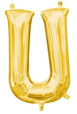"Air-Filled Letter ""U""- Gold 16"" Balloon"