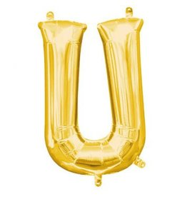 """Air-Filled Letter """"U""""- Gold 16"""" Balloon"""