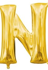 "Air-Filled Letter ""N""- Gold Balloon"