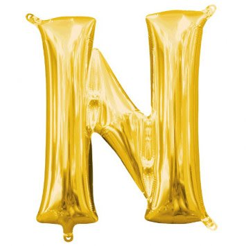 """Balloon Air-Filled Letter """"N""""- Gold"""