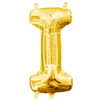 "Air-Filled Letter ""I""- Gold 16"" Balloon"