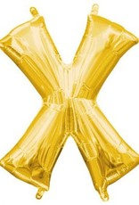 """Air-Filled Letter """"X""""- Gold 16"""" Balloon"""