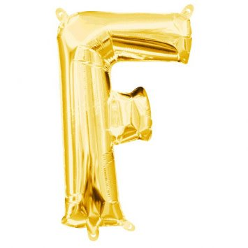 """Balloon Air-Filled Letter """"F""""- Gold 16"""""""