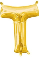 "Air-Filled Letter ""T""- Gold 16"" Balloon"