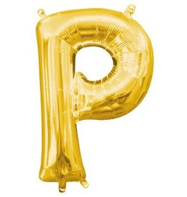 "Air-Filled Letter ""P""- Gold 16"" Balloon"