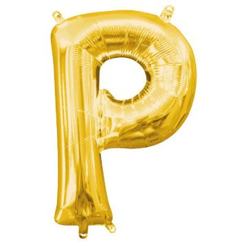 """Air-Filled Letter """"P""""- Gold 16"""" Balloon"""