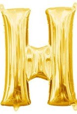 """Air-Filled Letter """"H""""- Gold 16"""" Balloon"""