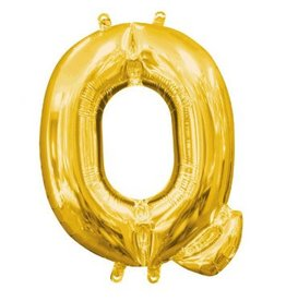 """Air-Filled Letter """"Q""""- Gold 16"""" Balloon"""