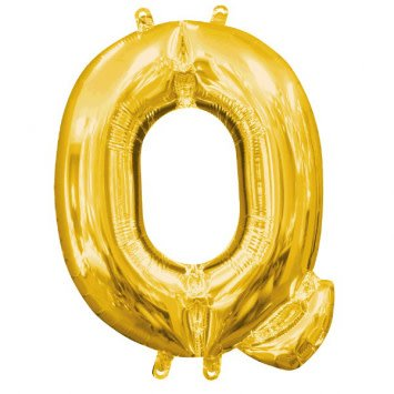 "Air-Filled Letter ""Q""- Gold 16"" Balloon"