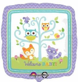 """Welcome Baby Woodland 18"""" Mylar Balloon"""