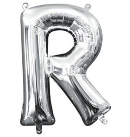 "Air-Filled Letter ""R""- Silver Balloon"