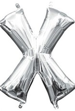 """Air-Filled Letter """"X""""- Silver Balloon"""