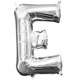"Air-Filled Letter ""E""- Silver Balloon"