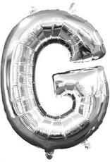 """Air-Filled Letter """"G""""- Silver Balloon"""