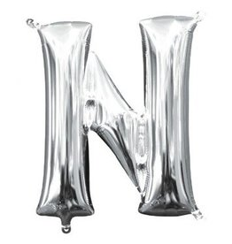 """Air-Filled Letter """"N""""- Silver Balloon"""