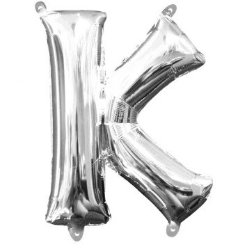 "Air-Filled Letter ""K""- Silver Balloon"