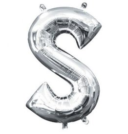 "Air-Filled Letter ""S""- Silver Balloon"