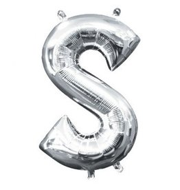 """Air-Filled Letter """"S""""- Silver Balloon"""