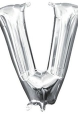 """Air-Filled Letter """"V""""- Silver Balloon"""