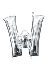 """Air-Filled Letter """"W""""- Silver Balloon"""