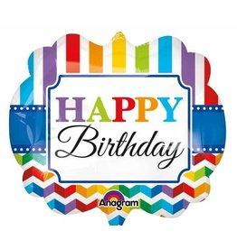 "Birthday Bright Stripe Chevron 22"" Mylar Balloon"