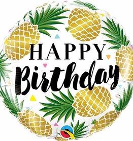 """Golden Pineapple Birthday 18"""" Mylar Balloon"""