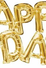 Air Filled Happy Bday Gold Mylar Balloon