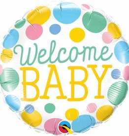 "Welcome Baby Dots 18"" Mylar Balloon"