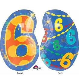 "#6 Multicolour Shape 18"" Mylar Balloon"