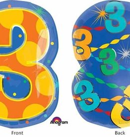 "#3 Multicolour Shape Mylar 18"" Balloon"