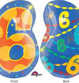 "#6 Multicolour Shape 18"" Mylar Balloon"