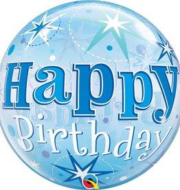 """Birthday Blue Starburst 22"""" Bubble Balloon"""