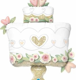 "Glitter Wedding Cake 41"" Mylar Balloon"