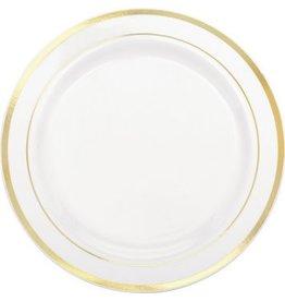 """White Premium Plastic Round Plates with Gold Trim, 10 1/4"""""""