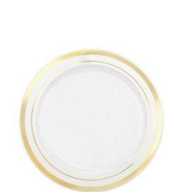"""White Premium Plastic Round Plates with Gold Trim, 6 1/4"""""""