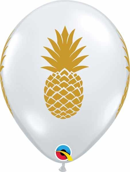 """11"""" Printed Clear Pineapple Balloon 1 Dozen Uninflated (Flat)"""