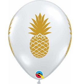 "11"" Printed Clear Pineapple Balloon 1 Dozen Uninflated (Flat)"
