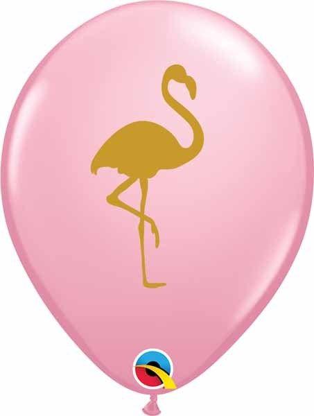 "11"" Printed Pink Flamingo Balloon 1 Dozen (Flat)"