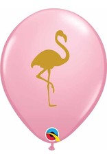 "11"" Printed Pink Flamingo Balloon 1 Dozen (Flat)"